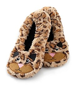 Fuzzy Babba® Leopard Critter Furry Slippers