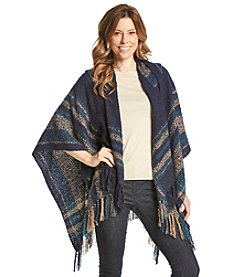 Collection 18 Stripe Border Hooded Poncho