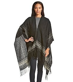 Basha Brushed Plaid And Fringe Ruana