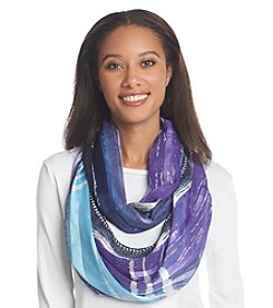 Basha Watercolor Print Crochet Edge Eternity Scarf