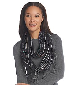 Basha Open Knit Nubby Sequin Eternity Scarf