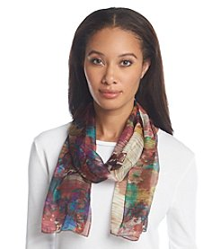 Basha Floral Reflection Print Oblong Scarf