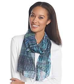 Basha Graphic Mixed Media Print Oblong Scarf