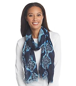 Basha Geometric Print Swirl Embroidery Neck Wrap