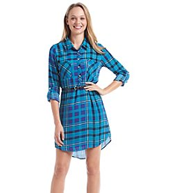 Sequin Hearts® Belted Plaid Shirtdress