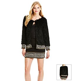 Jessica Simpson Bead Faux Fur Jacket