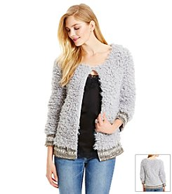 Jessica Simpson Beaded Faux Fur Jacket