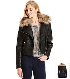 Jessica Simpson Fur Collar Moto Jacket