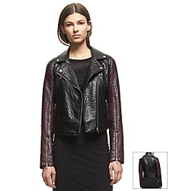 KIIND OF Faux Leather Moto Jacket