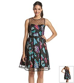 Eliza J® Dot And Floral Fit And Flare Dress