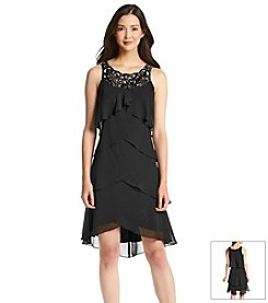 S.L. Fashions Lace Neck Tiered Dress