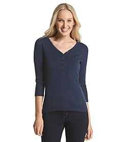 Relativity® V-Neck Henley Sweater