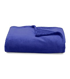 LivingQuarters Luxe Royal Cobalt Plush Throw