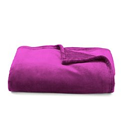 LivingQuarters Luxe Royal Boysenberry Plush Throw