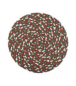 LivingQuarters Christmas Braided Round Placemat
