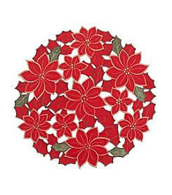 LivingQuarters Poinsettia Cut Out Placemat