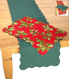 LivingQuarters Holly Berry Reversible Table Linens