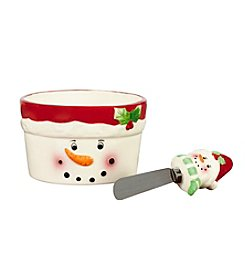 Pfaltzgraff® Winterberry Snowman With Red Hat Dip Bowl And Spreader