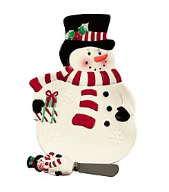 Pfaltzgraff® Winterberry Snowman With Black Hat Tidbit Tray And Spreader
