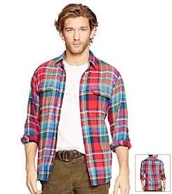 Polo Ralph Lauren® Men's Long Sleeve Plaid Suede Patch Button Down