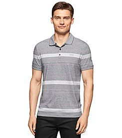 Calvin Klein Men's Short Sleeve Refined Textured Stripe Polo Shirt