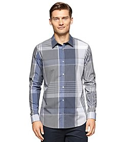 Calvin Klein Men's Long Sleeve Large Scale End On End Button Down Shirt