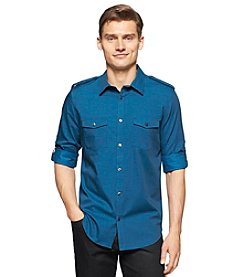 Calvin Klein Men's Long Sleeve Slub Twill Pocket Button Down Shirt