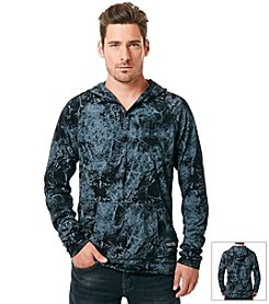 Buffalo by David Bitton Men's Long Sleeve Marble Hooded Knit Tee