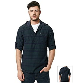 Buffalo by David Bitton Men's Long Sleeve Striped Chambray Pullover Hoodie