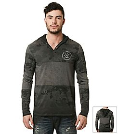 Buffalo by David Bitton Men's Long Sleeve Mixed Media Hooded Knit Tee