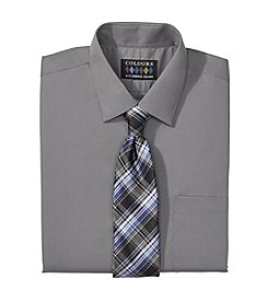Alexander Julian® Men's Regular Fit Solid Dress Shirt & Tie Set