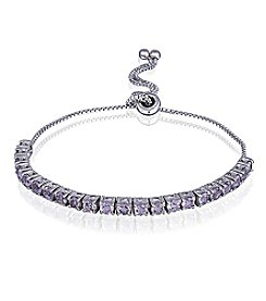 Designs by FMC Silver-Plated Adjustable Amethyst Bracelet