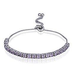 Designs by FMC Silver-Plated Adjustable Amethyst Bracelet