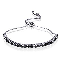 Designs by FMC Silver-Plated Adjustable Black Spinel Bracelet