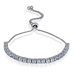 Designs by FMC Silver-Plated Adjustable Blue Topaz Bracelet