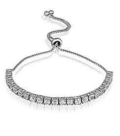 Designs by FMC Silver-Plated Adjustable White Sapphire Bracelet