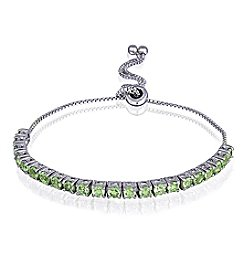 Designs by FMC Silver-Plated Adjustable Peridot Bracelet