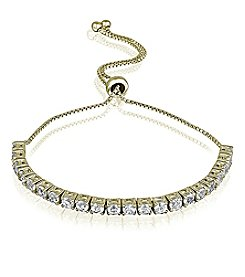 Designs by FMC 18k Gold-Plated Adjustable White Sapphire Bracelet