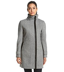 Calvin Klein Faux Leather Trim Coat
