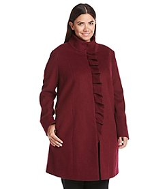 T Tahari® Plus Size Ruffle Front Wool Coat