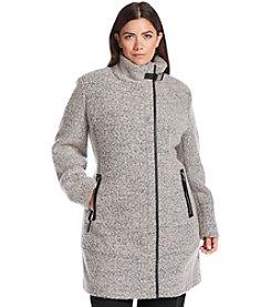 Calvin Klein Plus Size Asymmetrical Stand Collar Coat