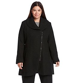 Jessica Simpson Plus Size Asymmetrical Shawl Collar Walker
