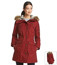 1 Madison® Hooded Parka With Faux Fur Trim