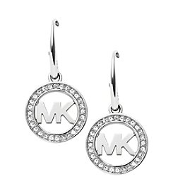 Michael Kors® Silvertone Signature Pave Drop Earrings