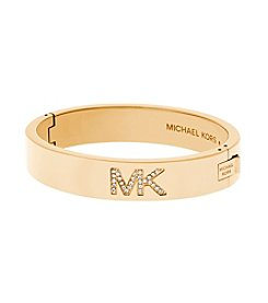 Michael Kors® Goldtone Pave Logo Hinged Bangle Bracelet