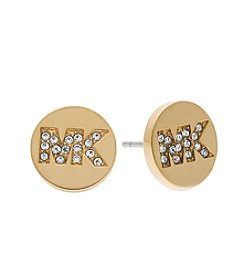 Michael Kors® Goldtone Pave Logo Stud Earrings