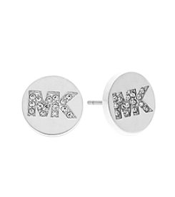 Michael Kors® Silvertone PaveLogo Stud Earrings