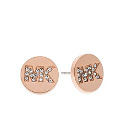 Michael Kors® Rose Goldtone Pave Logo Stud Earrings