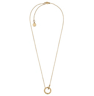 Michael Kors® Goldtone Pave Interlocking Logo Ring