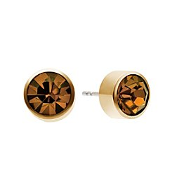 Michael Kors® Goldtone Whiskey Round Cut Stud Earrings